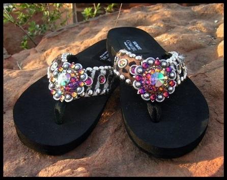 Lilly Zebra & Leopard Cowhide Swarovski Flip Flops