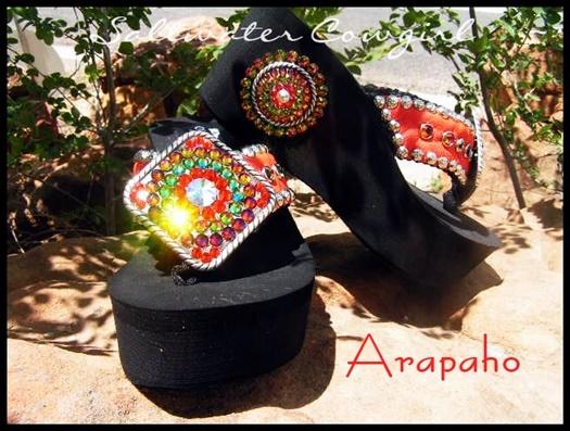 Arapaho Hand Made Swarovski Flip Flops