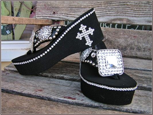 Beverly Heels Black  Swarovski Flip Flops