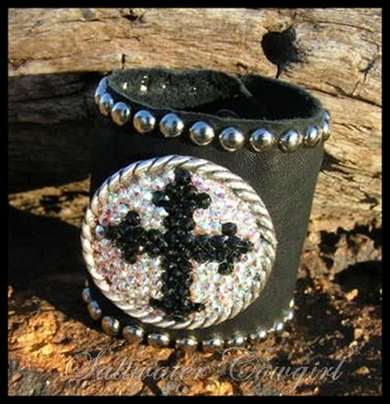 Black Leather Swarovski Cross Cuff Bracelet