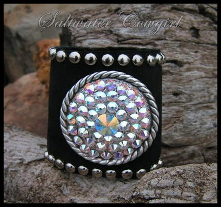 Black Leather Swarovski Cuff Bracelet