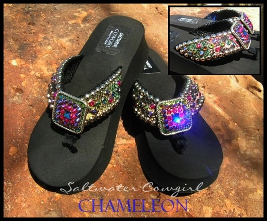 Chameleon Multi Colored Swarovski Flip Flops