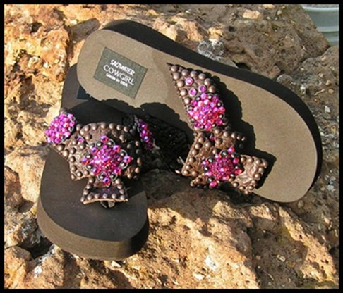 Chocolate Rose Tooled Swarovski Cross Flip Flops