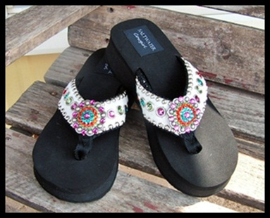 Confetti Cowgirl White Cowhide Flip Flops