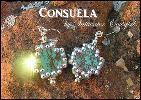 Consuela Turquoise Swarovski Cross Earrings
