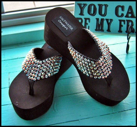 Diamond Lil Topaz Swarovski Flip Flops