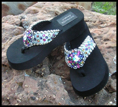 Funky Blues Cowgirl Bling Flip Flops