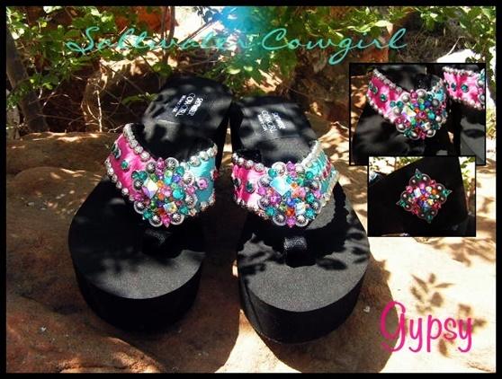 Gypsy Funky Custom Swarovski Flip Flops