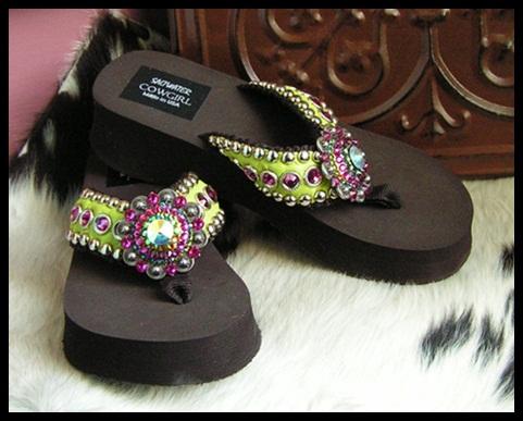 Margarita Funky Cowgirl Flip Flops