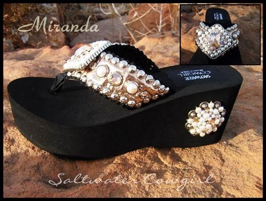 Miranda Gold and Pearl Swarovski Flip Flops