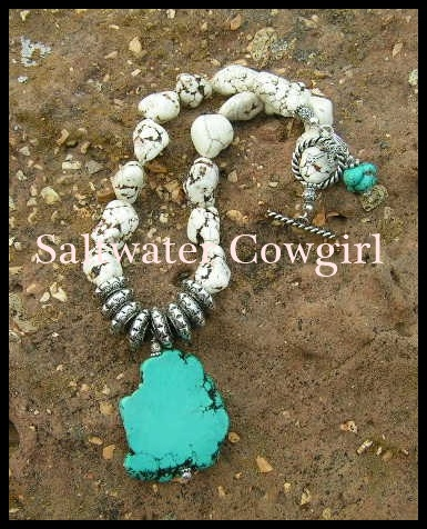 Reno Chunky White Mustang Turquoise Slab Necklace