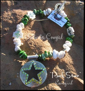 Rock Star-funky cowgirl jewelry,modern cowgirl,sassy,concho pendant,bling,wholesale cowgirl jewelry,chunky turquoise,turquoise cross,rodeo,barrel racer