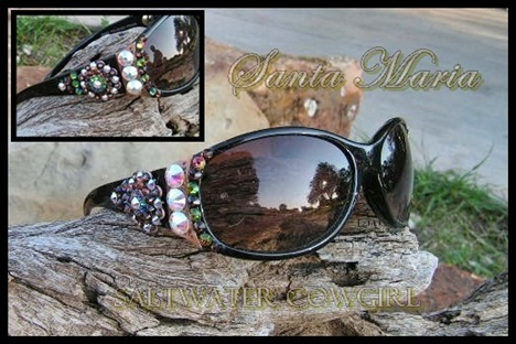 Santa Maria Swarovski Cowgirl Sunglasses-funky cowgirl jewelry,cowgirl jewelry,cowgirl jewels,funky chunky cowgirl jewels,funky chunky cowgirl jewelry,cowgirl flip flops,saltwater cowgirl,chunky funky jewelry,wholesale cowgirl jewelry,wholesale cowgirl flip flops,funky cowgirl flip flops, chunky funky jewelry,extreme bling flops,handmade in texas,swarovski hand made cowgirl sun glasses,cowgirl sunglasses,wholesale cowgirl bling sun glasses
