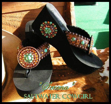 Serena Swarovski & Turquoise Hand Made Flip Flops