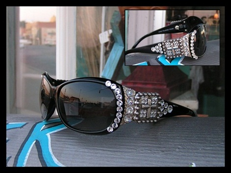 Black Swarovski Cowgirl Sun Glasses