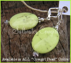 Cowgirl Pearl Earrings-funky cowgirl jewelry,modern cowgirl,wholesale cowgirl jewelry,sassy,chunky turquoise,lime turquoise,rodeo,rodeo queen