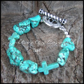 Hope-funky cowgirl jewelry featuring chunky turquoise crosses,turquoise nuggets,modern cowgirl,sassy,wholesale cowgirl jewelry,rodeo,NFR