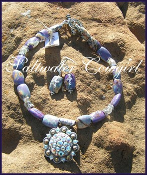 Purple Haze-funky cowgirl jewelry,chunky turquoise,wholesale cowgirl jewelry,concho pendant,bling,rodeo,sassy,modern cowgirl,rodeo queen,barrel racer