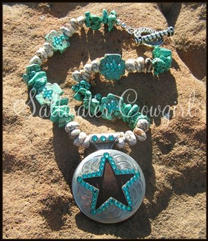 Rock Star - Blue-funky cowgirl jewelry,chunky turquoise,wholesale cowgirl jewelry,concho pendant,bling,rodeo,sassy,modern cowgirl,rodeo queen,barrel racer