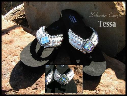 Tessa White Cowhide Swarovski Flip Flops