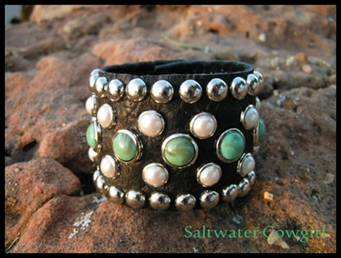 Turquoise and Pearl Leather Cuff