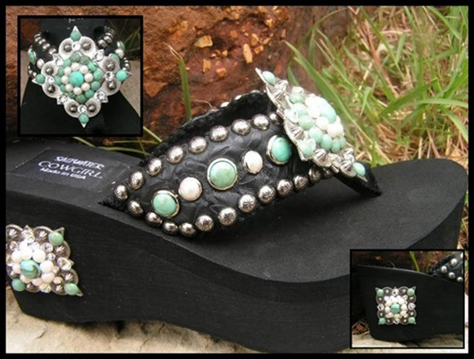 Apache Turquoise and Pearl Swarovski Flip Flops