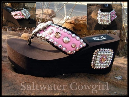 Victoria Vintage Pink Pearl Swarovski Flip Flops