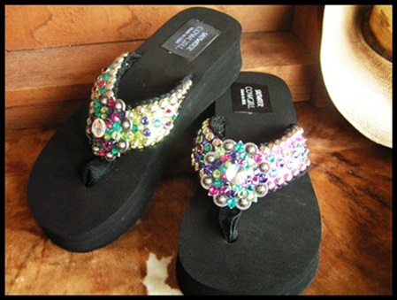Wild Thing II Funky Bling Cowgirl Flip Flops